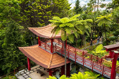 Pagoda in a Beautiful Garden at Monte above Funchal Madeira. This wonderful garden is at the top of the cablecar from the seafront in Funchal. It is filled with Royalty Free Stock Images
