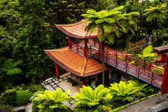 Pagoda in a Beautiful Garden at Monte above Funchal Madeira. This wonderful garden is at the top of the cablecar from the seafront in Funchal. It is filled with Stock Images