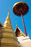 Pagoda and big umbrella at Wat Pra-bart,Phrae Stock Images