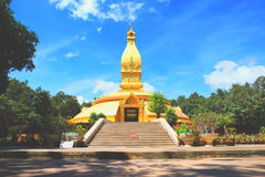 Pagoda on blue sky. Wat Nong phapong a temple of Ubon Ratchathani Stock Photo