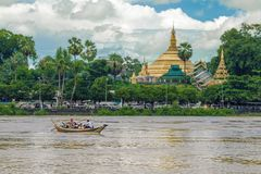Pagoda and the boat royalty free stock photo
