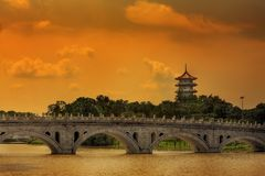 Pagoda and bridge royalty free stock photos