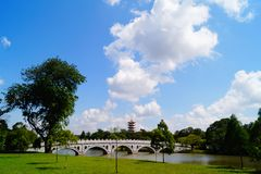 A pagoda and a bridge stock images
