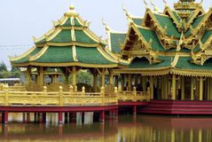 Pagoda on a bridge over a lake in Ancient Siam, Bangkok, Thailand, Asia Stock Photo