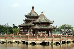 Pagoda and bridge over a lake, Bangkok, Thailand Stock Image