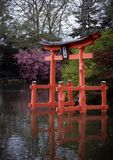 Pagoda, Brooklyn Botanic Garden. This beautiful pagoda-like structure stands in the pond of the Japanese Garden at the Brooklyn Botanic Gardens Stock Images
