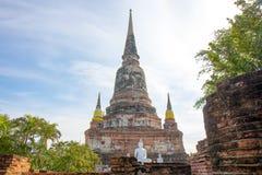 The Pagoda and Buddha Status at Wat Yai Chaimongkol, Ayutthaya,. Thailand stock images