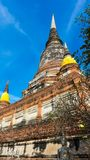 The Pagoda and Buddha Status at Wat Yai Chaimongkol, Ayutthaya,. Thailand stock photos