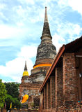 Pagoda and Buddha Status at Wat Yai Chaimongkol Royalty Free Stock Photography