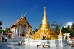 Pagoda of Buddhist temple. Beautiful landscape. Pagoda of Buddhist temple in Bangkok, Thailand Royalty Free Stock Image
