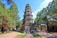 Thien Mu Pagoda, Hue Vietnam. Pagoda of the Celestial Lady also called Linh Mụ Pagoda is a historic temple in the city of Huế in Vietnam stock images