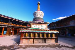 The pagoda in the center area at Shangri-La, formerly known as Zhongdian County, is the capital of Diqing Autonomous Prefecture.Yu Royalty Free Stock Images