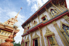 Pagoda in Chaitharam Wat Chalong Temple, Phuket, Thailand Royalty Free Stock Photography