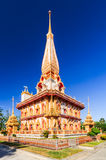 Pagoda in Chalong Temple or Wat Chalong with blue sky in Phuket,. The most important of buddhist temples of Phuket is Wat Chalong or formally Wat Chaiyathararam Royalty Free Stock Photos