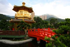 A pagoda in a Chinese garden Stock Image