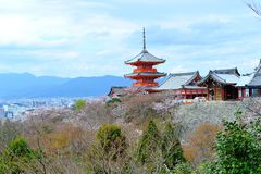 Pagoda with clear blue sky. At Kiyomizu-Dera Stock Image