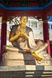 Pagoda con la statua di grande insegnante buddista messo nella residenza dorata complessa buddista di Buddha Shakyamuni Elista Ru Fotografia Stock Libera da Diritti