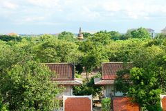 Pagoda con luce solare e cielo blu a Wat Yai Chaimongkol, si Ayutthaya, Tailandia di Phra Nakhon Tempio di buddismo fotografia stock