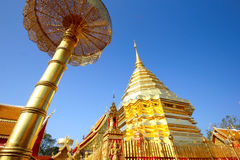 Pagoda d'or Bouddha qui Doi Suthep, chiangmai, Thaïlande Photographie stock