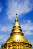 Pagoda d'or en Wat Phra That Hariphunchai Images libres de droits