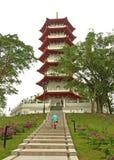Pagoda dans les jardins chinois, Singapour Image libre de droits