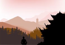 Pagoda in dark mountain forest Stock Photos