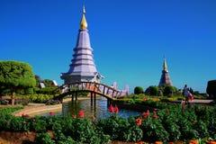 Pagoda de Doi Inthanon, appelée Naphapholphumisiri et beau parc en Chiang Mai, Thaïlande image stock