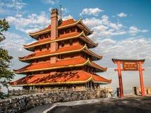 Pagoda de la lectura en invierno foto de archivo libre de regalías