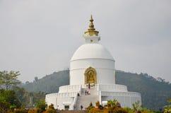 Pagoda de la paz de mundo de Pokhara en el valle Nepal de Annapurna Fotografía de archivo