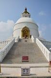 Pagoda de paix du monde de Pokhara en vallée Népal d'Annapurna Photographie stock