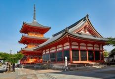 Pagoda de temple de dere de Kiyomizu à Kyoto, Japon photographie stock libre de droits