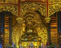 Pagoda de Vietnam Chua Bai Dinh: Estatua de oro gigante de Buda en temporeros foto de archivo libre de regalías