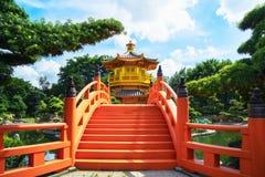 Pagoda del giardino lian di Nan nella città di Hong Kong con bello immagini stock libere da diritti