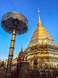 Pagoda dell'oro a Doi Suthep Fotografia Stock Libera da Diritti