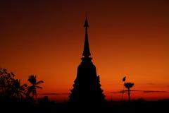 Pagoda della siluetta, Tailandia Fotografia Stock Libera da Diritti
