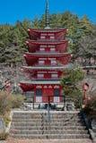 Pagoda di rosso di storie di Shureito cinque immagini stock libere da diritti