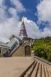 Pagoda at Doi inthanon in Chiangmai province,Thailand. Pagoda and blue sky at Doi inthanon in Chiangmai province,Thailand Stock Image