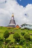 Pagoda at Doi inthanon in Chiangmai province,Thailand. Pagoda and blue sky at Doi inthanon in Chiangmai province,Thailand Royalty Free Stock Photo