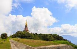 Pagoda at Doi inthanon in Chiangmai province,Thailand. Pagoda and blue sky at Doi inthanon in Chiangmai province,Thailand Royalty Free Stock Photos