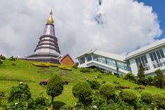 Pagoda at Doi inthanon in Chiangmai province,Thailand. Pagoda and blue sky at Doi inthanon in Chiangmai province,Thailand Royalty Free Stock Image