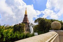 Pagoda at Doi inthanon in Chiangmai province,Thailand. Pagoda and blue sky at Doi inthanon in Chiangmai province,Thailand Stock Photo