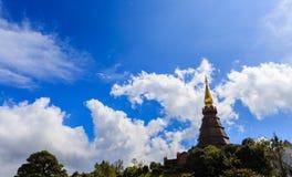 Pagoda at Doi inthanon in Chiangmai province,Thailand. Pagoda and blue sky at Doi inthanon in Chiangmai province,Thailand Royalty Free Stock Images