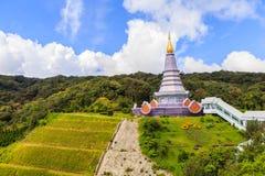 Pagoda at Doi inthanon in Chiangmai province,Thailand. Pagoda and blue sky at Doi inthanon in Chiangmai province,Thailand Stock Photos