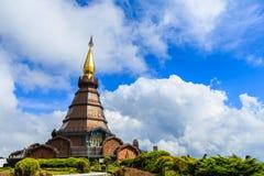 Pagoda at Doi inthanon in Chiangmai province,Thailand. Pagoda and blue sky at Doi inthanon in Chiangmai province,Thailand Stock Photography