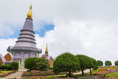Pagoda at Doi Inthanon national park after rain. Chiang Mai ,Thailand. Royalty Free Stock Photos