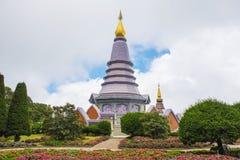 Pagoda at Doi Inthanon national park after rain. Chiang Mai ,Thailand. Stock Photos
