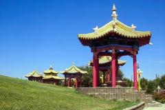 Pagoda, domicilio de oro de Buda Shakyamuni, templo budista en Elista fotos de archivo libres de regalías