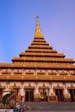 Pagoda dorata al tempio di Wat Nong Wang, Khonkaen Tailandia Fotografia Stock Libera da Diritti