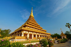 Pagoda dorata al tempio tailandese, Khon Kaen Tailandia Fotografia Stock Libera da Diritti