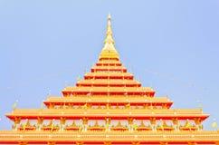 Pagoda dorata al tempio tailandese, Khonkaen Tailandia Fotografie Stock Libere da Diritti